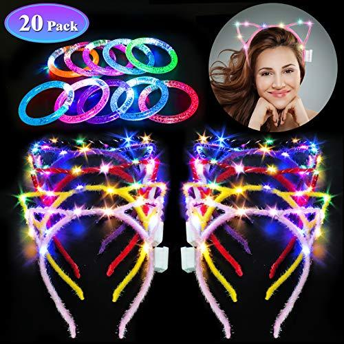 Danolt 20 piezasJuego de Fiesta, 10 Diademas de Orejas de Gato LED con 10 brazaletes Brillantes de...