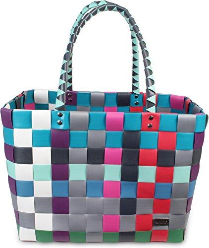 normani® Einkaufstasche Shopper geflochten aus Kunststoff - robuster Strandkorb Vintage Style 38cm x 25cm x 28cm Farbe Classic/River