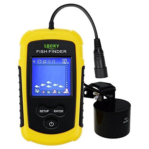 Ice Fishing-elektronik (Lucky Fish Finder Sonar,TN / Anti-UV-LCD-Display LED-Hintergrundbeleuchtung für Nachtfischen, verdrahtet w/ Alarm, 100M(328ft) Tiefe Erkennung, Trübe Wasser, Stausee, Fluss, See, Boot Kayak Eisfischen)