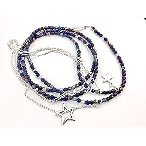 2 x Ketten als Set, Y-Kette lang funkelnde Glasperlen in verschiedenen Blautönen & zierliche Kette aus silberfarbenen Metallperlchen