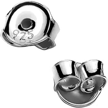 Sterling Silver Butterfly Earring Backs//Scrolls friction fit Large 6mm x 4mm