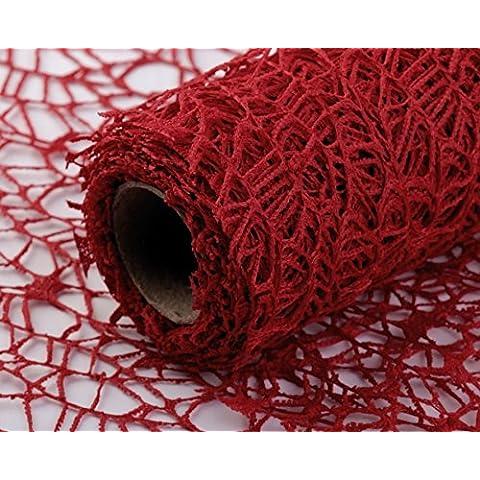 Tela decorativa de algodón rollo, Camino de mesa, decoración, red, red, banda mesa, red de malla de plástico, textil, muchos colores, algodón, rojo, 4,5 m x 50 cm
