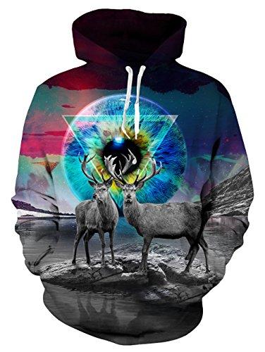 NEWISTAR Herren Hoodie 3D Druck Kapuzenpullover Grafik Langarm Sweatshirt Pullover Top Jumper Large (Trocken-grafik)