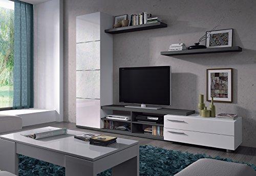 PEGANE Ensemble Meuble TV Couleur Blanc Brillant/Gris cendré - Dim : 240 x 42 x 180 cm