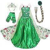GenialES Disfraz de Vestido Princesa Verde Capa Larga Estampada con Guantes Trenza Diadema Lindo Disfraz de Cumpleaños Carnaval Fiesta Cosplay Boda Halloween para Niñas 2 a 8 Años