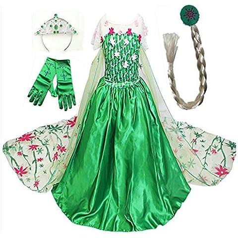 GenialES Disfraz de Vestido Princesa Verde Capa Larga Estampada con Guantes Trenza Diadema Lindo Disfraz de Cumpleaños Carnaval Fiesta Cosplay Boda Halloween para Niñas 2 a 8