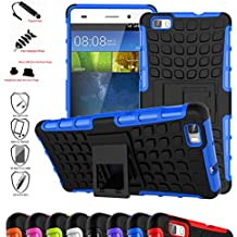 HuaWei P8 Lite Funda,Mama Mouth Heavy Duty silicona híbrida con soporte Cáscara de Cubierta Protectora de Doble Capa Funda Caso para HuaWei P8 Lite,Azul