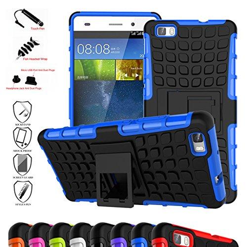 HuaWei P8 Lite Funda,Mama Mouth Heavy Duty silicona híbrida con soporte Cáscara de Cubierta Protectora de Doble Capa Funda Caso para HuaWei P8 Lite,Azul width=