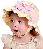 HAPPY CHERRY Neugeborenes Baby Hut Mädchen Baumwolle Sonnenhut Blumenmuster Kids Mütze Sommer Kappe UV Schutz Sonnenschutz Kleinkind Babymütze mit Fliege Größe 49 - Gelb