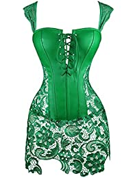 Kimring Women s Steampunk Gothic Faux Leather Bustier Corset with Lace Skirt 95175be4c