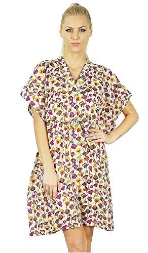 Bimba Frauen Blumen gedruckte Baumwolle Kaftan Kleid kurzen Tunika Strand Kaftan -