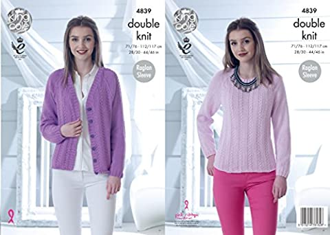 King Cole 4839 Knitting Pattern Womens Raglan Sleeve Sweater and Cardigan in King Cole Cottonsoft DK