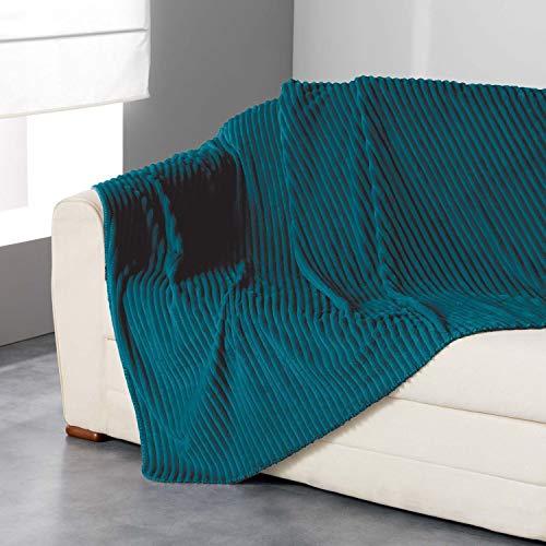 iDiffusion Plaid Flanelle Jacquard Zeline - 125 x 150 cm - Bleu Canard