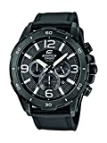 CASIO Men's Quartz Watch with Black Dial Analogue Display and Black Leather Strap EFR-303D-1AVUEF