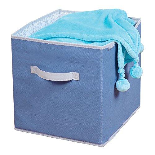 Imagen para MetroDecor mDesign Caja de Tela para ordenar armarios – Organizadores de Juguetes o del Cambiador – Caja organizadora para pañales, Ropa, Mantas y Otros Accesorios de bebé – Azul/Gris