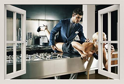 Unified Distribution Sexy Girl Sekretärin - Wandtattoo mit 3D Effekt, Aufkleber für Wände und Türen Größe: 92x61 cm, Stil: Fenster - Tür Sekretärin
