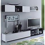Habitdesign 016664G - Mueble comedor, color Gris Ceniza y Blanco Brillo, dimensiones: 37 x 240 x 41cm