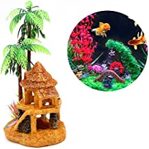 Decoración Ornamento Acuario Casa Árbol Palmera Coco decoro resina