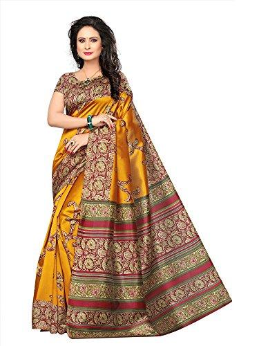 Mrinalika Fashion Women\'S Art Silk Saree With Blouse Piece ( Yellow_Srja032_Free Size )