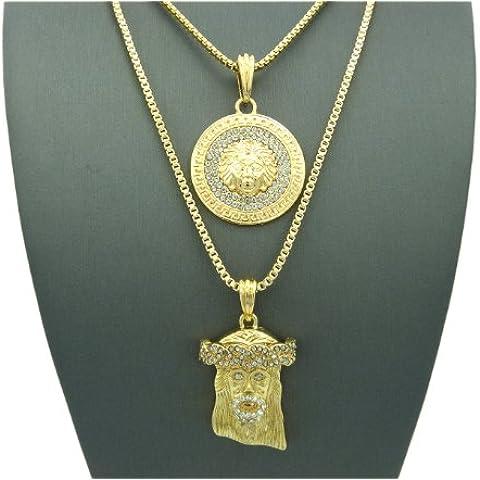 NYfashion101 RC192G - Coppia di ciondoli color oro, uno con immagine di Medusa e l'altro di Gesù, con catenine a maglia veneziana