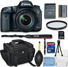 Canon Eos 7D Mark II with Wi-Fi Digital SLR Camera with EF-S 18-55mm is STM Bundle Includes Camera, 32GB Memory Card, UV Filter, Bag, Cleaning Kit - International Version