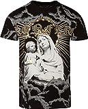 Sakkas T809 - Liam Herren Alltag Kurzarm Baumwolle Geprägte T-Shirt Virgin & Baby Jesus - Schwarz - L