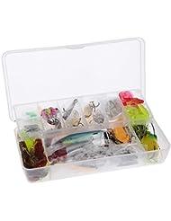 Lixada 108pcs Portable kit leurres artificiels pour la pêche appâts doux durs Minnow Spoon Popper Crank crevettes Jig Hamecon