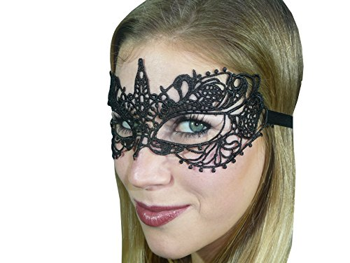 HO-Ersoka Damen Augenmaske Ballmaske Spitze Stickerei Maskenball Venezia schwarz