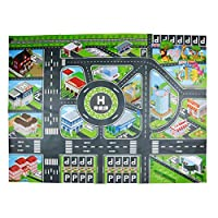 HULE Children Baby Toy Car Game Pad Simulation City Traffic Parking Lot Map Floor Mat Waterproof City Life Great for Playing with Cars and Toys, Large Learning Carpets