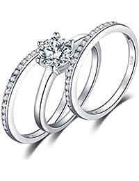 JewelryPalace Anillo Conjunto 1.5ct Zirconia Cúbica 3 Pcs Aniversario Banda Boda Solitario Compromiso Nupcial Plata de ley 925