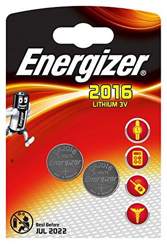 Piles bouton au lithium Energizer 2016, pack de 2