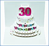 Pop Up 3D Karte Geburtstagskarte 30 Geburtstag Gutschein Torte 16x11cm