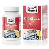 ZeinPharma Krill Öl Antarktis Vanille • 60 Kapseln - 500mg • Neu mit Vanillearoma – ohne fischigen Nachgeschmack • Hochwertigste Omega-3 Fettsäuren • Qualität Made in Germany