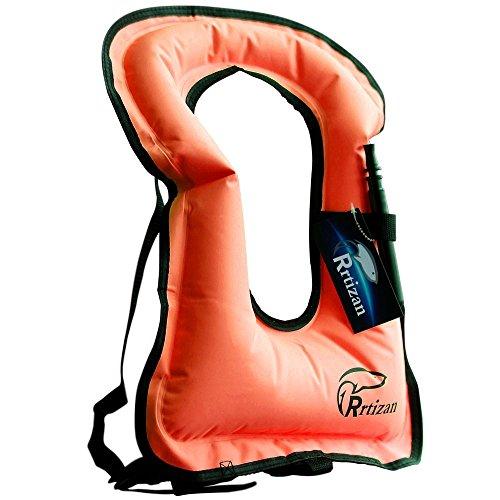 Rrtizan Unisex-Erwachsene Tragbar Aufblasbar Schwimmweste Schnorchel Weste für Den Wassersport Auftriebshilfe,Orange