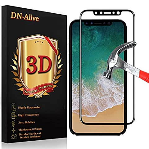 iPhone X Screen Protector, iPhone X EditionTempered Glass Screen Protector, By DN-Alive [3D Glass] [Black] [9H Hardness] [Anti Scratch] [Shatter Proof] [Easy Installation] [Full Cover Tempered Glass- Edge To Edge] [iPhone X Edition Case