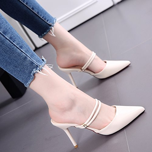 Pantofole di moda con poco profonde della bocca a punta fine in pelle femminile di fascia alta con tacco Pantofole Tutto-Fiammifero Estate Semplice Beige