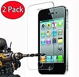 2 Pack - iPhone 4 4s Panzerglas, FoneExpert® Gehärtetem Schutzfolie Glasfolie Hartglas Panzerfolie Displayschutzfolie für iPhone 4 4s
