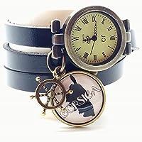 montre en cuir bracelet 3 rangs cabochon bronze illustré vintage, corse, corsica, ancre, noir