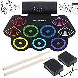 Elektronische Trommel Tragbare 9 Pads Roll Up Schlagzeug, Instrument Eingebaute Lautsprecher & Drum Fußpedale & Drumsticks für Kinder, Anfänger,Schlagzeuger