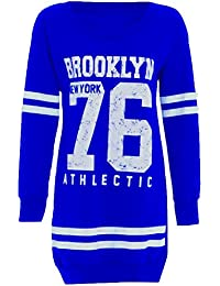 Neuen Frauen 76 Brooklyn Winter-Athletisch Langarm Pullover Tops 36-50