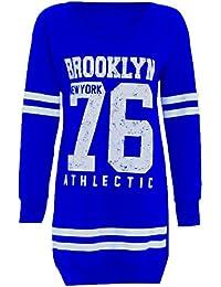 Mesdames Baseball Imprimer Newyork Brooklyn Bulls Oversize longues Tops des cavaliers thermiques 36-50