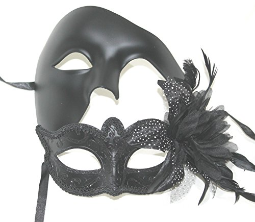 Sein und ihrs Zwei Schwarz venezianische Maskerade Partei Karneval Masken Für (Maskerade Masken Paare Für)