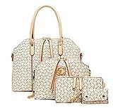 Minetom Damen Elegant Fashion Women PU Leather Handbag Shoulder Bag Tote Bag Purse Bags 4 Pcs Set Beige