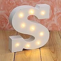 Decorative Light Up lettere,KINGCOO Batteria Luci LED Alfabeto in Legno Lettera Segni,Decorazioni per Festa di Nozze,Bianco Caldo (S)
