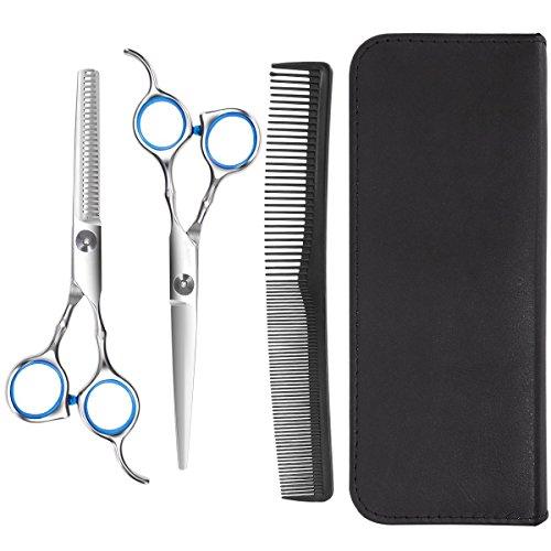 Haarschere Friseurschere,Professionelle Frisörscheren,6 in 1 Haarscheren Set mit Effilierschere,Haarnadel und Kamm,Friseurschere Werkzeugset Haarschnitt für Damen & Herren,für Hund & Katze