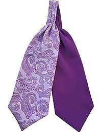 Herren Paisley Satin Reversibel Ascot Cravats Krawatten - Verschiedene Farben