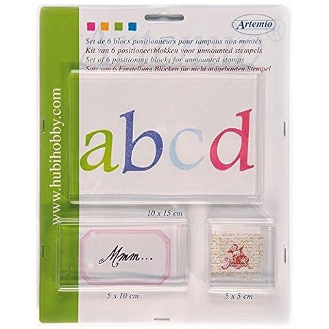 Artemio 6 blocs acryliques pour tampons clear
