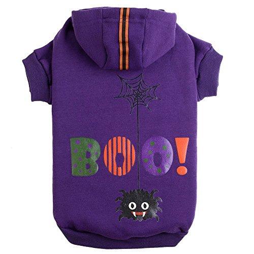 PUPTECK Hund Hoodie Pullover Haustier Sweatshirt Puppy Kleidung Bedruckt Stil, XS, Violett