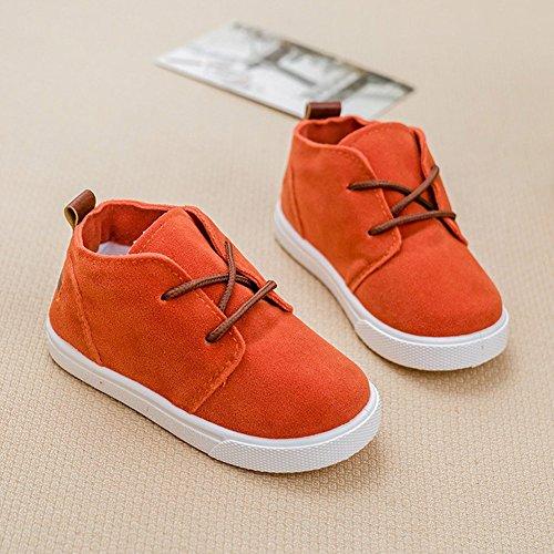 Minetom Mädchen Jungen Weich Wildleder Schuhe Leger Lauflernschuhe Sneaker Stiefel Schnürhalbschuhe Orange
