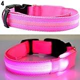 osmanthusFrag Einstellbare Hundehalsband LED Light Night Safety Flashing Leucht Welpen Hund Katze Geschenk Pink S
